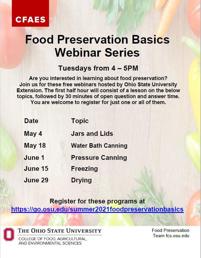 Food Preservation Basics Webinar Series