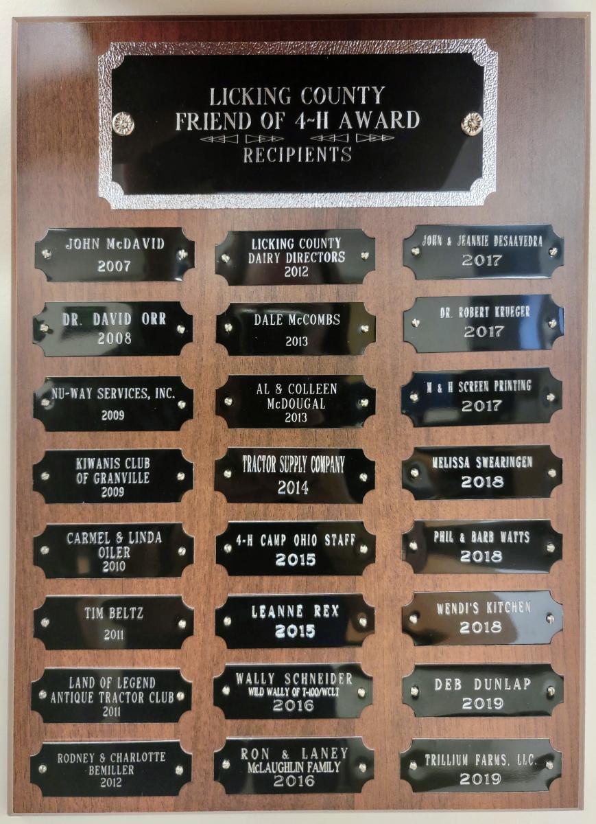 Friend of 4-H Award 2007-2019