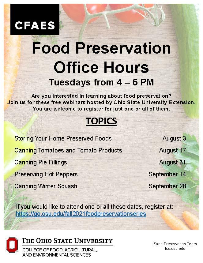 Food Preservation Office Hours